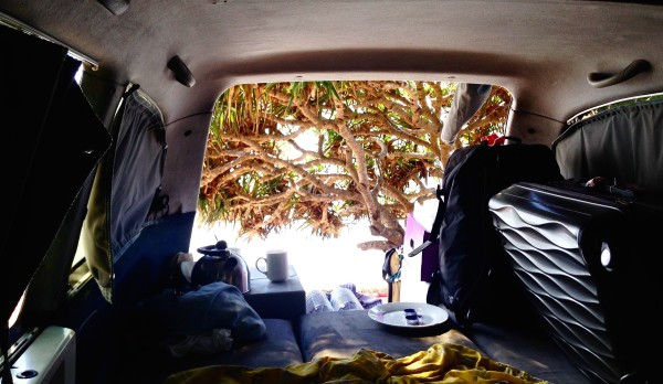 Mandy's van on her surftrip