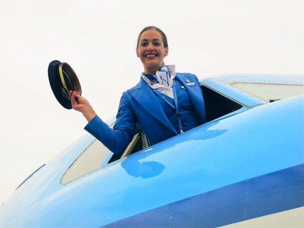 Stewardess in plane