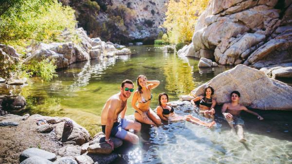 relaxing in the Deep Creek Hot Springs