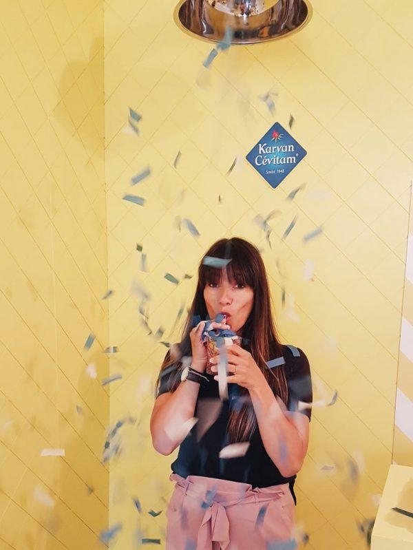 confetti shower at the pop-up lemonade bar