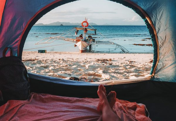 Sleeping on the beach, Philippines