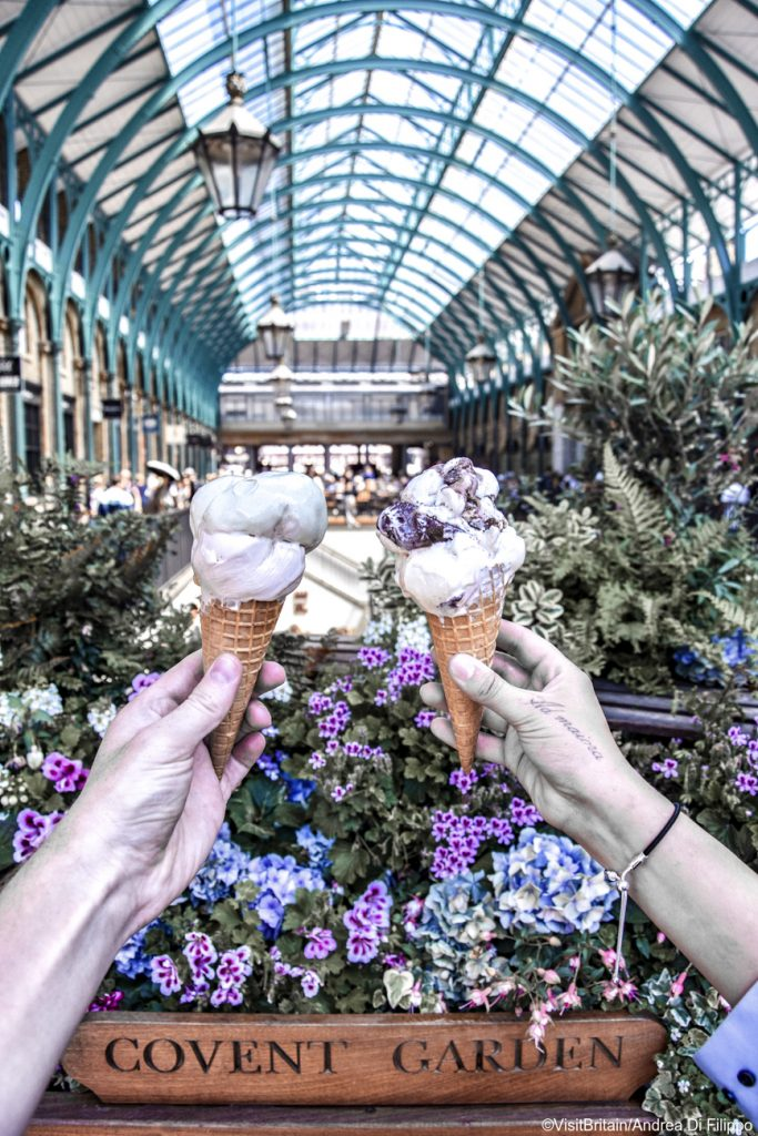 Ice creams at Covent Garden Market, London, England.