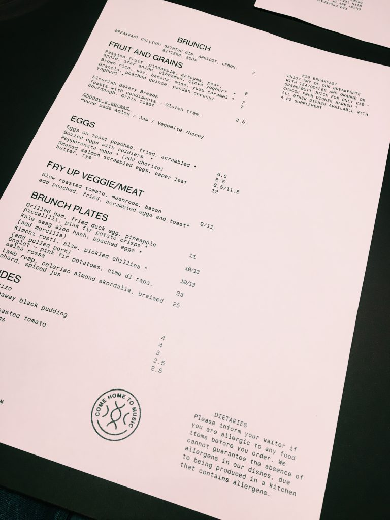 Menu at Spiritland London