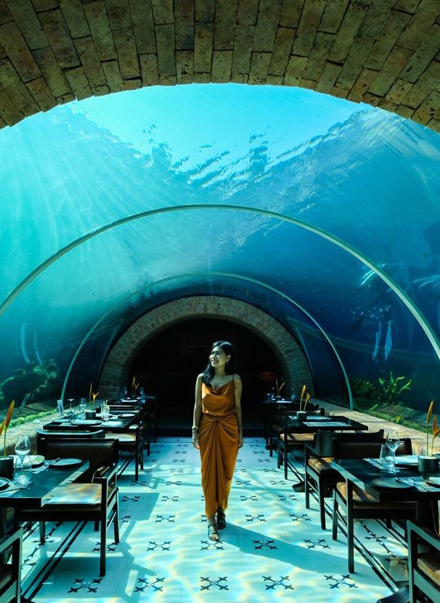 Girl in aquarium restaurant