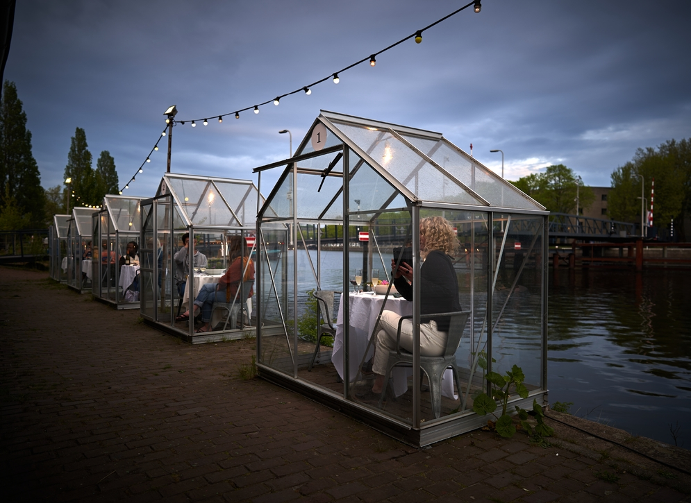 Dinner in greenhouse Amsterdam