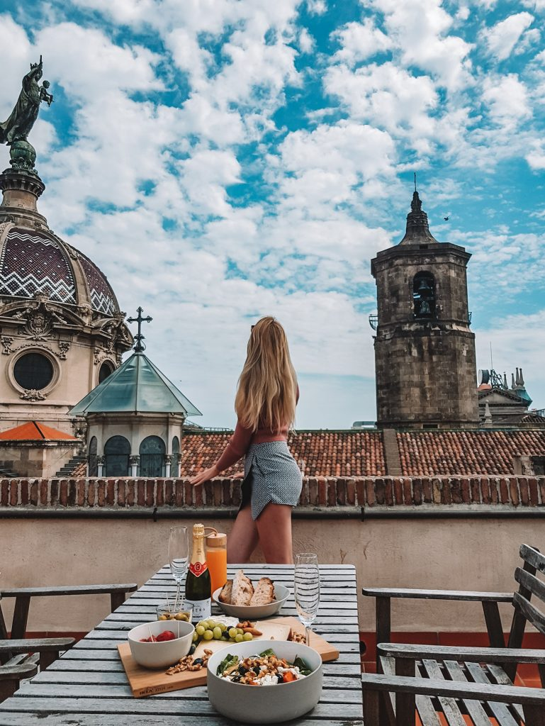Eva on rooftop during lockdown Barcelona