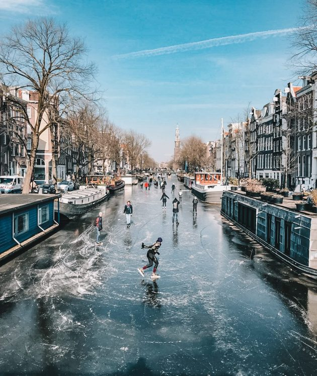 Ice skating on natural ice Netherlands