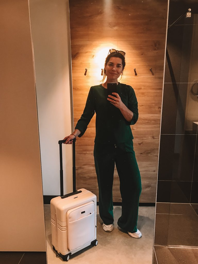 Sarah with Nortvi suitcase