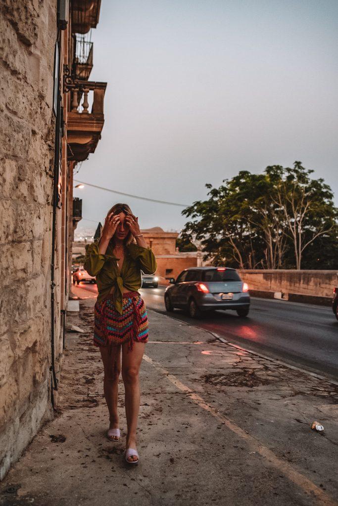 Girl walking in Mdina Malta